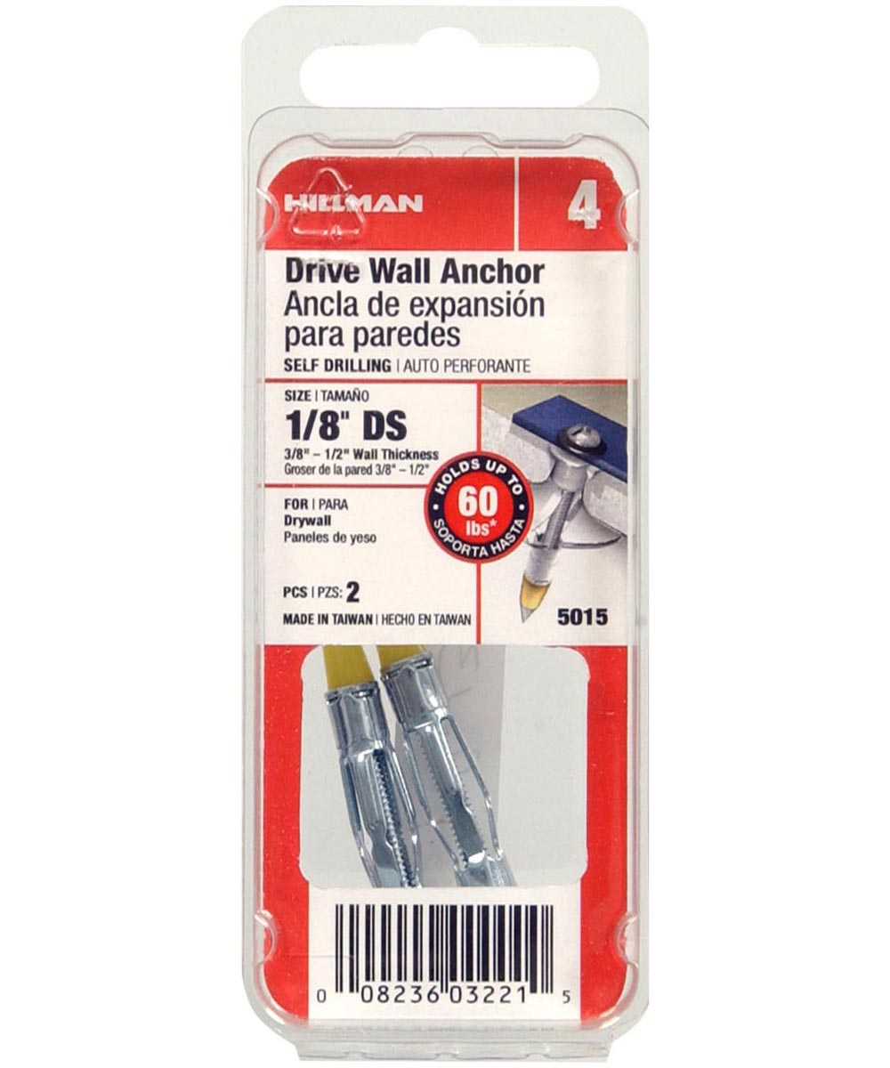 Drive Wall Anchor 1/8 in. Short, 2 Pieces