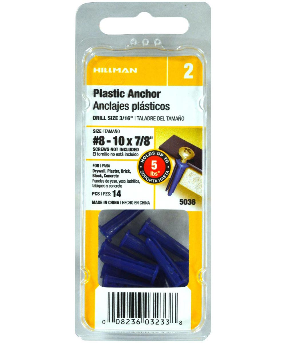 Blue Conical Plastic Anchor #8-10 x 7/8 in., 14 Pieces