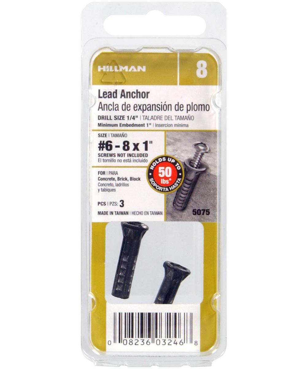 Lead Wood Screw Anchors #6-8 x 1 in., 3 Pieces