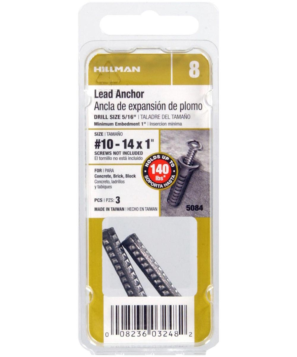 Lead Wood Screw Anchors #10-14 x 1 in., 3 Pieces