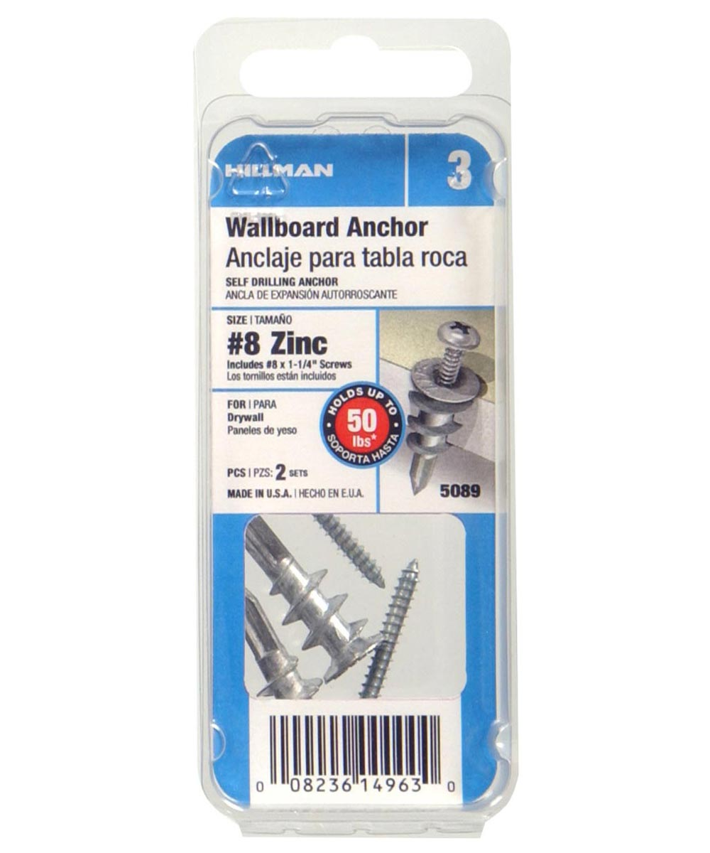 Zinc Plated Wallboard Anchor with Pan Head Phillips Sheet Metal Screw #8, 2 Pieces