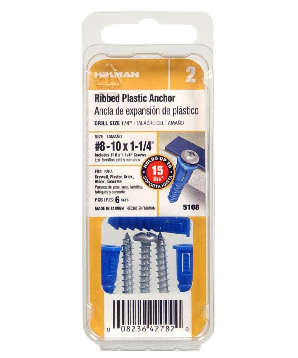 Ribbed Plastic Anchor w/ Screw #8-10-12 x 1-1/4 in., 6 Pieces