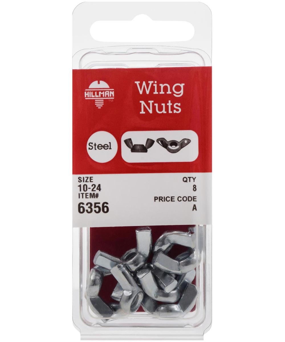 Zinc-Plated Wing Nuts #10-24, 8 Pieces