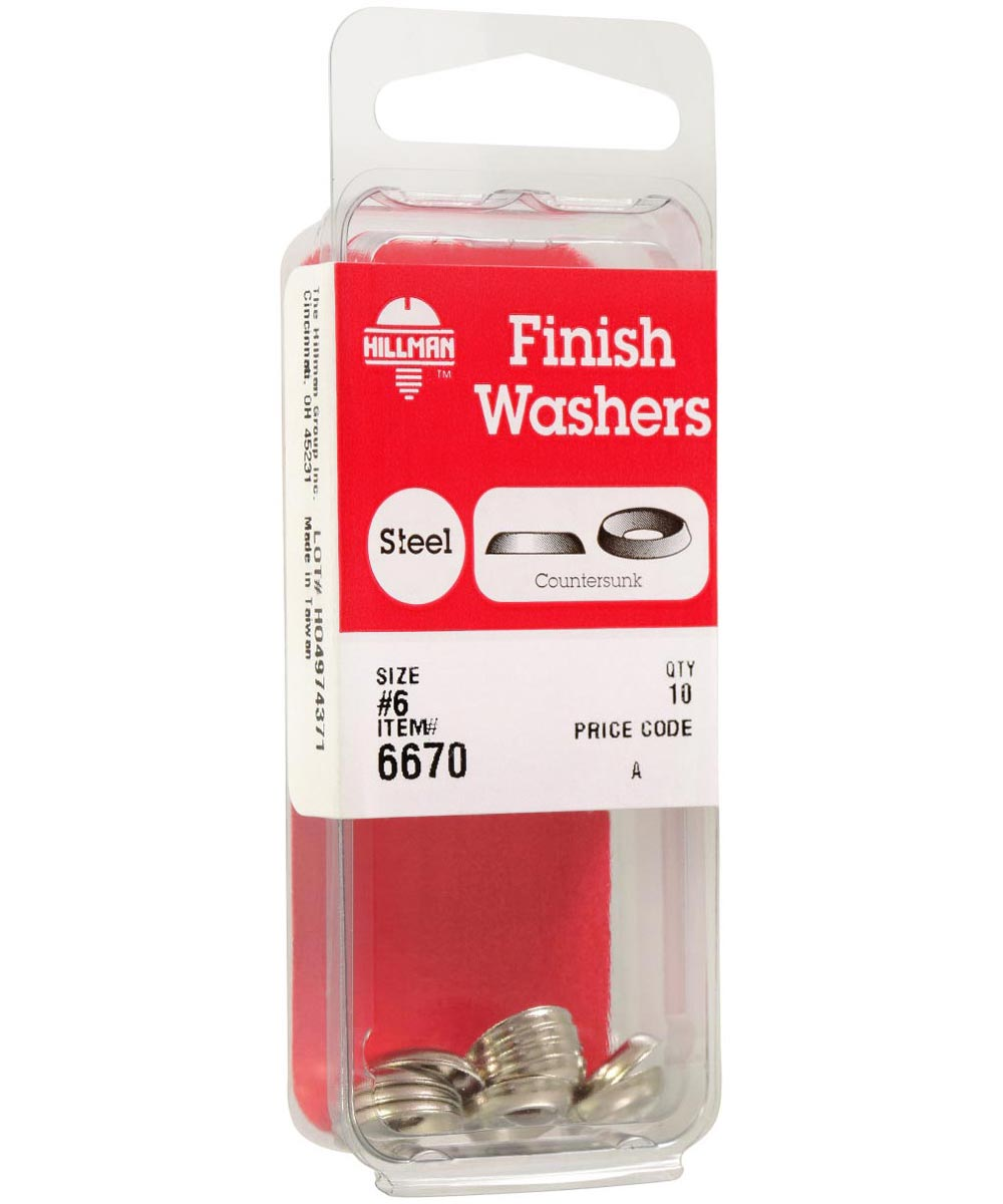 Nickel-Plated Countersunk Finish Washers #6, 10 Pieces