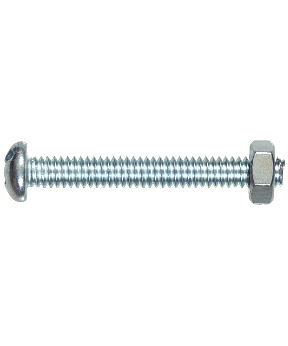 Stove Bolt Round Head Combination Drive with Nut #6-32 x 1/2 in., 10 Pieces