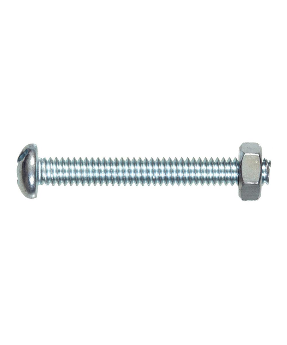 Stove Bolt Round Head Combination Drive with Nut #6-32 x 2 in., 5 Pieces