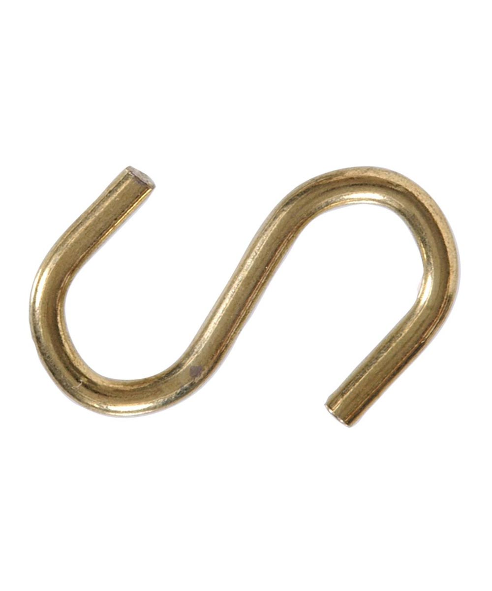 Brass S Hook 1in, 2 Pieces