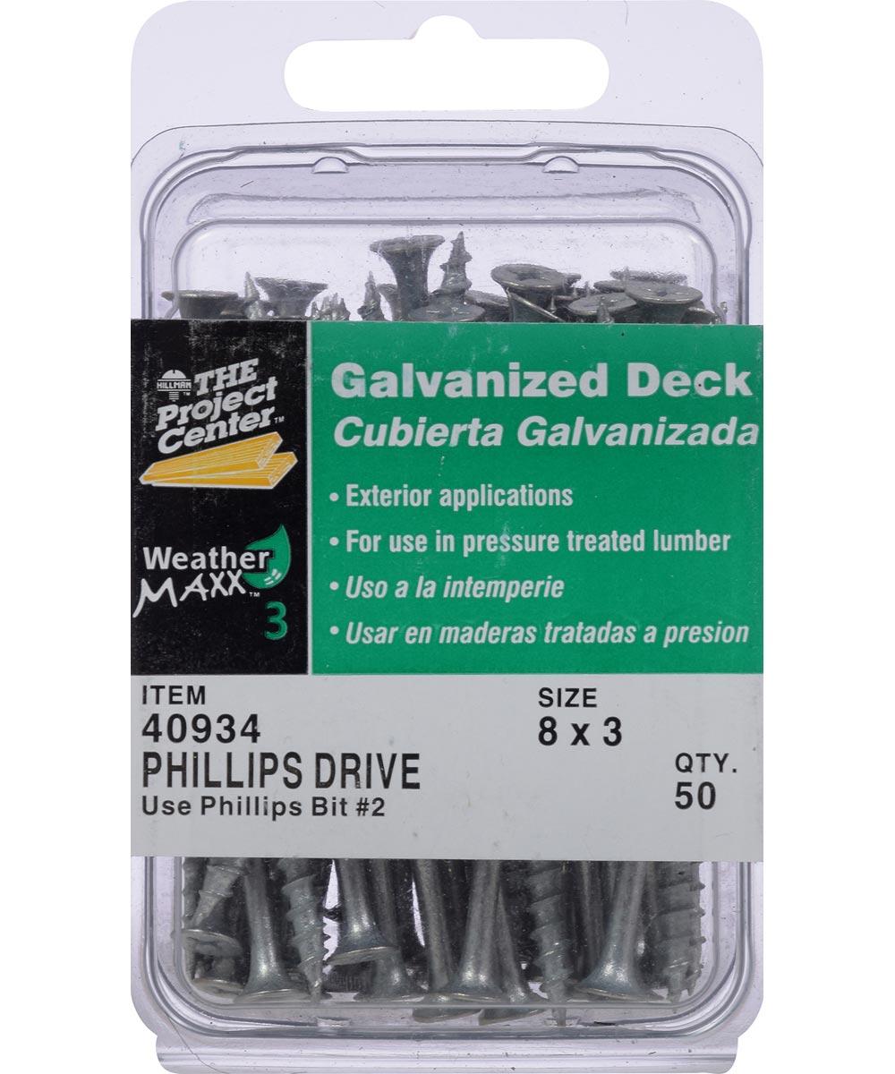 Galvanized Phillips Drive Deck Screw #8 x 3 in., 50 Pieces