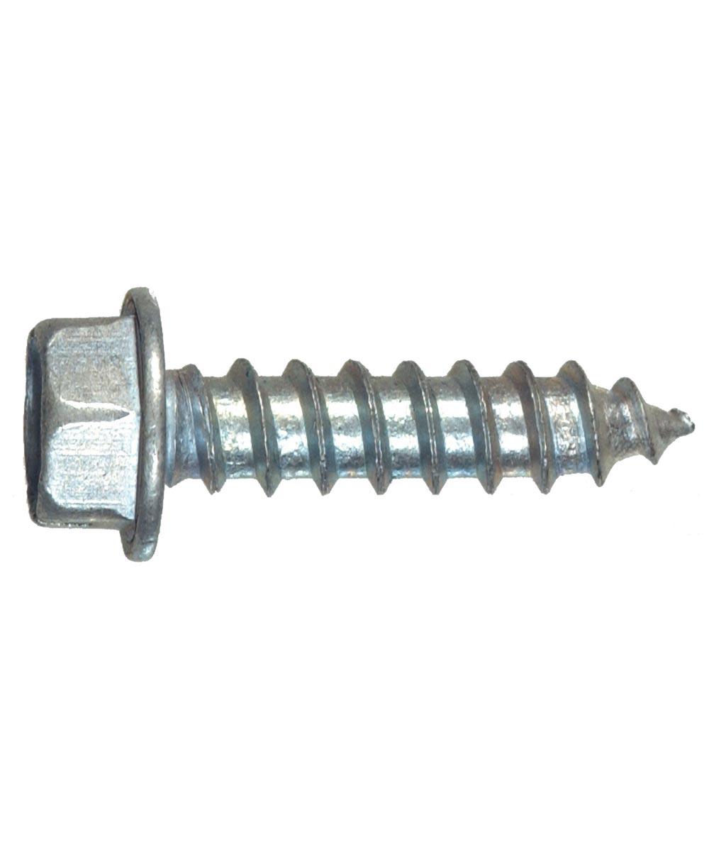 Zinc Slotted Hex Head Sheet Metal Screws #6 x 1/2 in., 100 Pieces