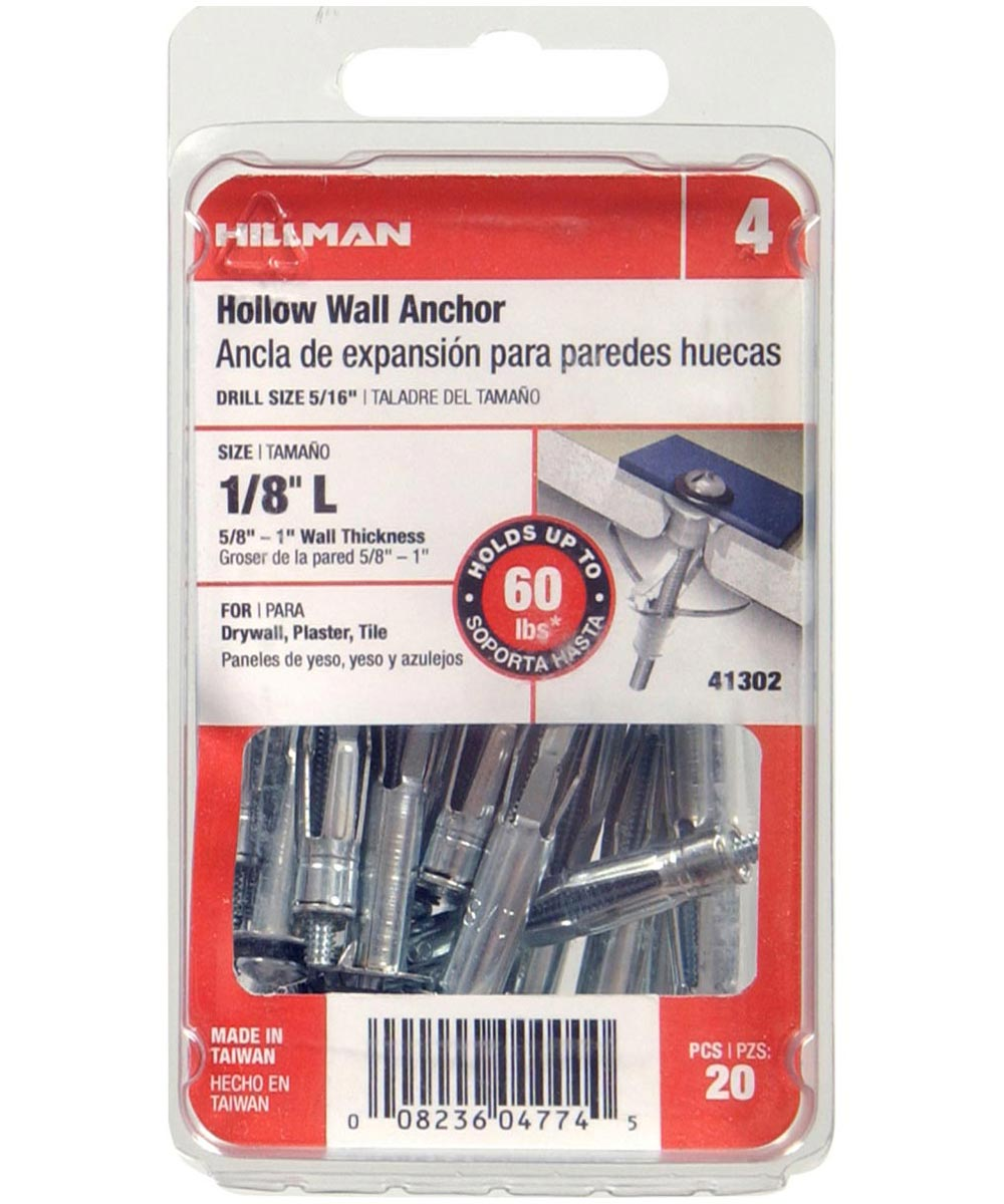 Pan Head Combination Drive Hollow Wall Anchor 1/8 in. Long, 20 Pieces