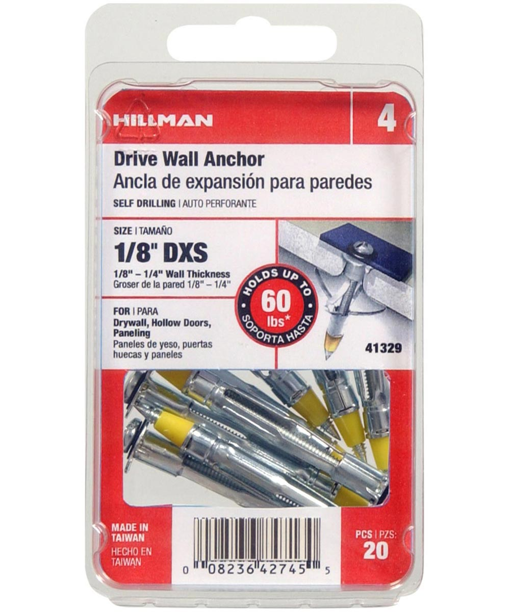 Drive Wall Anchor 1/8 in. X-Short, 20 Pieces