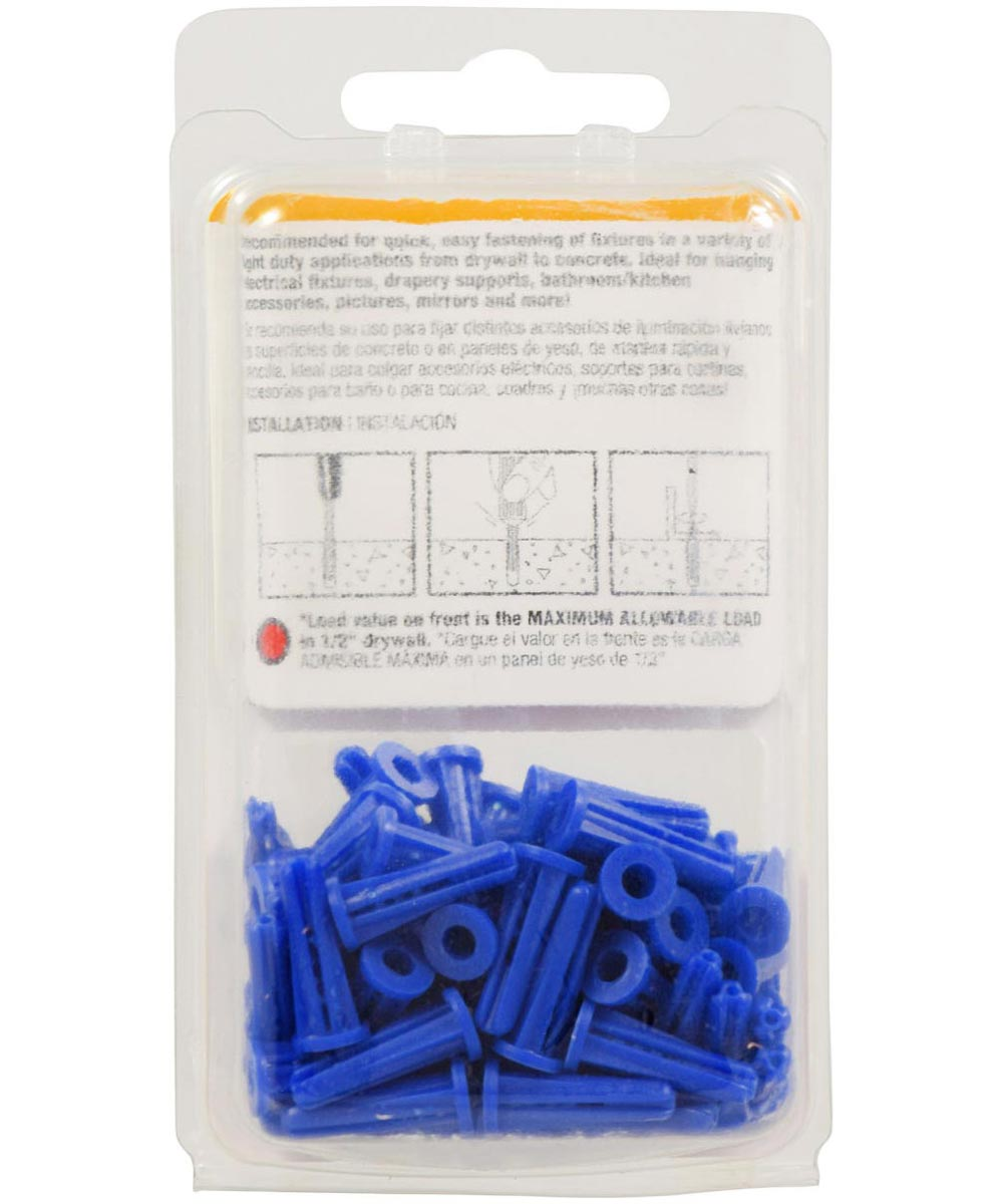 Blue Conical Plastic Anchor #6-8 x 3/4 in., 80 Pieces