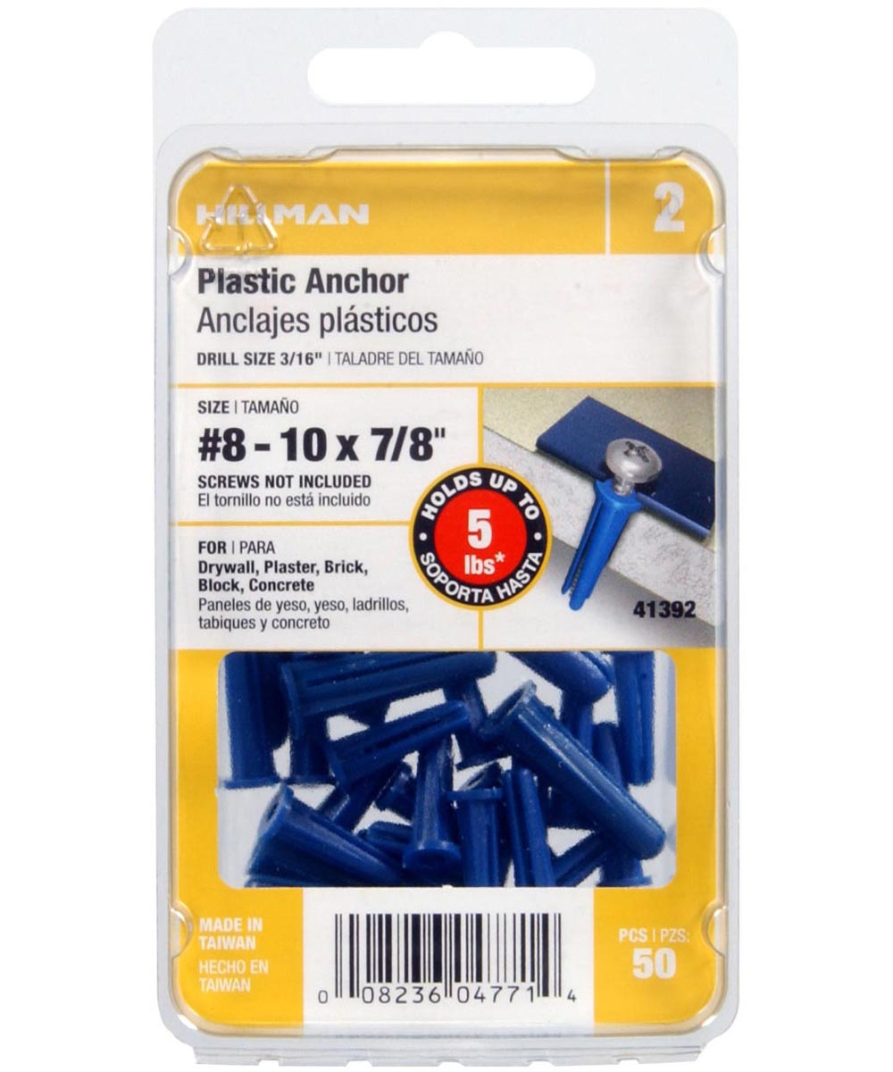 Blue Conical Plastic Anchor #8-10 x 7/8 in., 50 Pieces