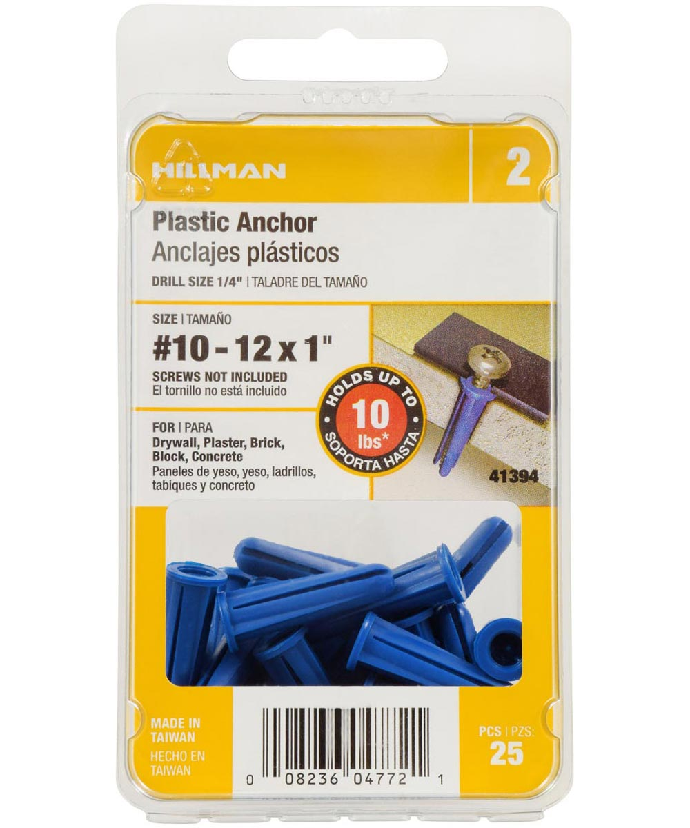 Blue Conical Plastic Anchor #10-12 x 1 in., 25 Pieces