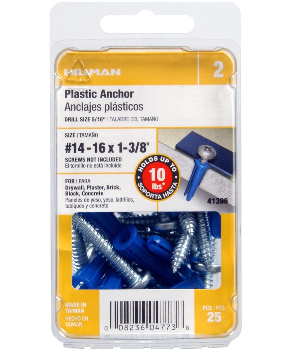Blue Conical Plastic Anchor #14-16 x 1-3/8 in., 25 Pieces