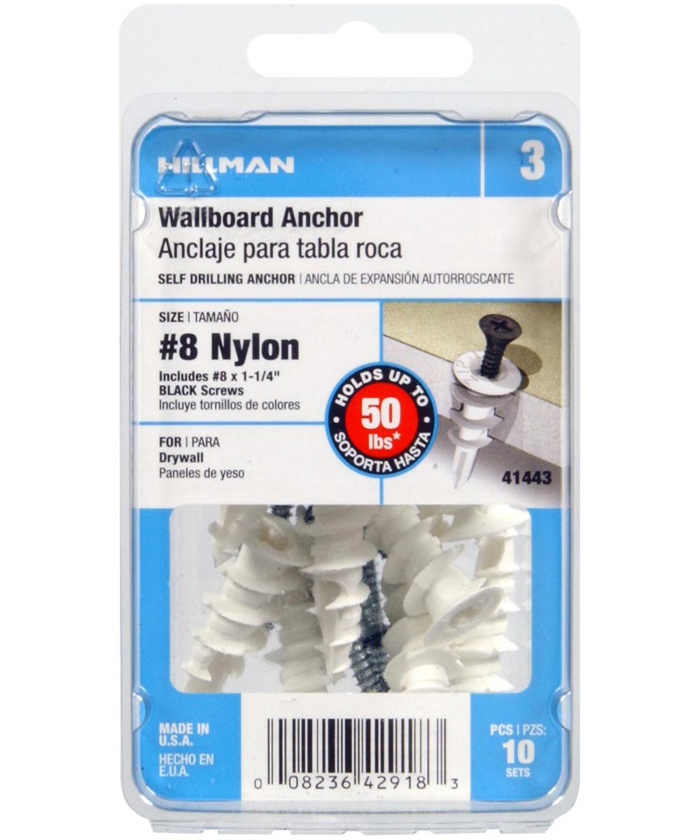 Nylon Wallboard Anchor with Black Painted Flat Head Phillips Sheet Metal Screw #8, 10 Pieces