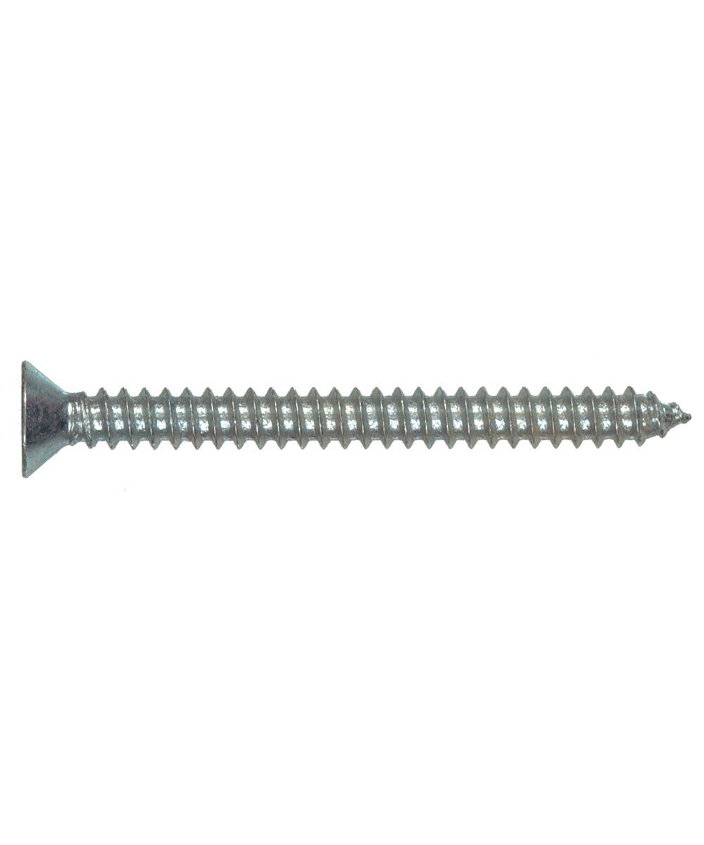 Zinc Flat Head Phillips Sheet Metal Screws #10 x 2 in., 50 Pieces
