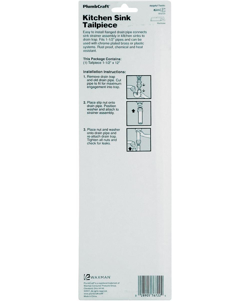 1-1/2 in. x 12 in. White Kitchen Sink Tailpiece
