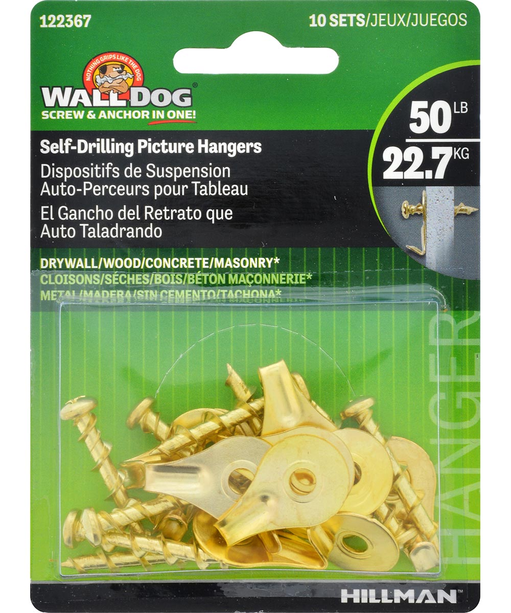 Self-Drilling Brass Wall Dogs with Picture Hanging Hook 50lb