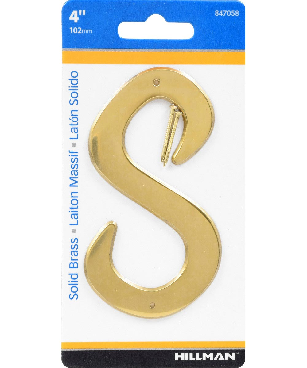 4 in. Nail-On Brass House Letter S