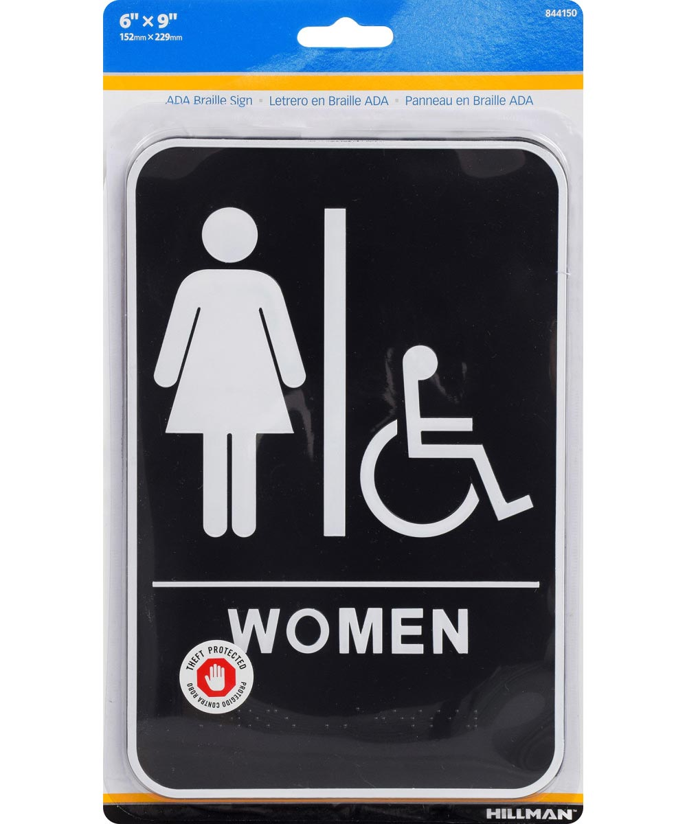 Women's Handicapped Restroom Sign with Braille 6 in. X 9 in.