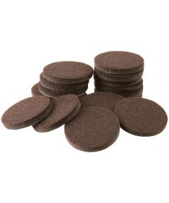 1 in. Brown Round Self-Stick Felt Pads 16 Count
