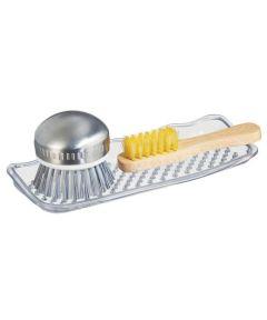 SinkWorks Kitchen Sponge & Soap Sink Tray, Clear