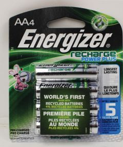 Energizer NiMH AA Rechargeable Battery, 4 Pack
