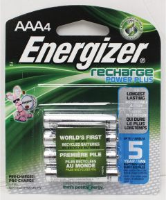 Energizer NiMH AAA Rechargeable Battery, 4 Pack