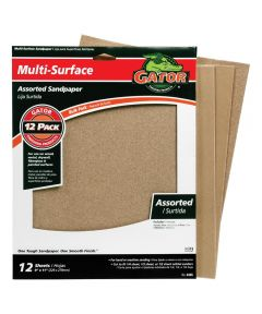 Gator Assorted Grit Multi-Surface Sandpaper, 11 in. x 9 in., 12 Pack