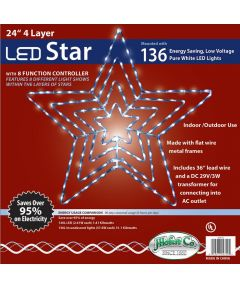 24 in. Neon White LED Christmas Star