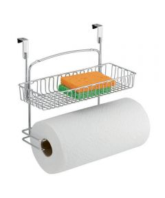 Classico Over-the-Cabinet Metal Paper Towel Holder with Storage Basket, Chrome Finish
