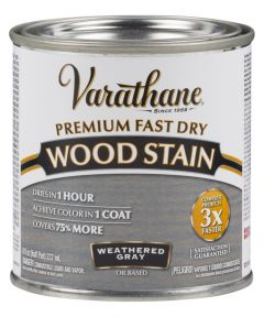 Varathane Premium Fast Dry Wood Stain, Half Pint, Weathered Gray