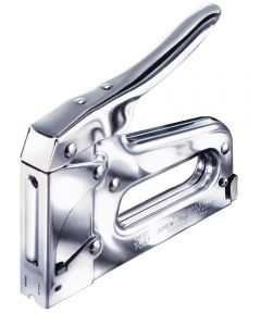 Heavy Duty Staple Gun Tacker, 3/8 in Crown, Steel, Chrome