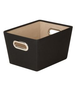 Small Canvas Storage Bin with Chrome Grommet Handles, Black