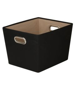 Medium Canvas Storage Bin with Chrome Grommet Handles, Black