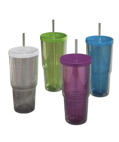 24 oz. Double Wall Tumbler With Lid & Straw Assorted Colors
