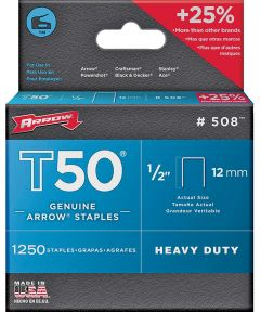 Heavy Duty Crown Staple, 3/8 in. Flat Crown, 1/2 in. Leg, Galvanized Steel, For Use With T50OC Stapler