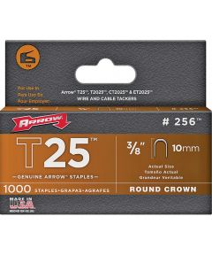Staples, 3/8 Inch, T25, 10 mm, 1,000 Count