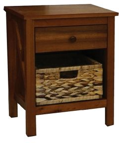 Alii Nightstand with Basket, Koa Finish