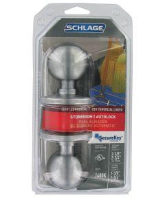 Schlage Orbit Light Commercial Storeroom Autolock Door Knob, Satin Chrome