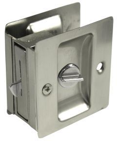 Privacy Pocket Door Lock, Satin Nickel