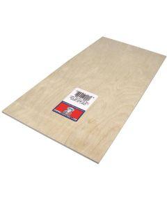 Plywood, 12 in L x 6 in W x 1/8 in T, Birch Veneer