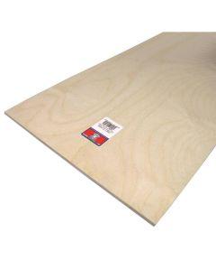Plywood, 24 in L x 12 in W x 1/4 in T, Birch Veneer