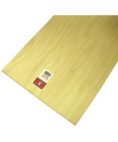 Plywood, 24 in L x 12 in W x 3/16 in T, Birch Veneer