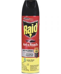 Raid Ant and Roach Killer, 17.5 oz., Aerosol Can, Lemon, Spray