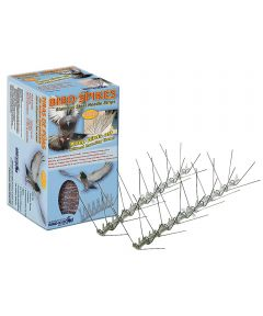 Bird Spike Kit, 4.3 in. (L) x 0.8 in. (W), 10 ft Coverage, Stainless Steel