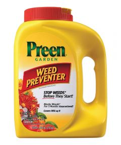 Preen Weed Killer, 5.625 lb., Canister, 900 sq-ft., Yellow, Granular