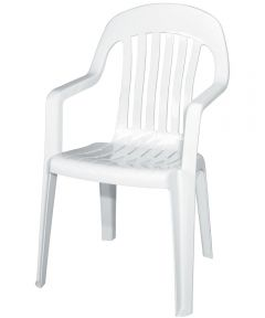 Stackable High Back Chair, 36 in. (H) x 22 in. (W) x 22-1/2 in D, White