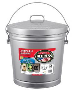10 Gallon Silver Galvanized Steel Dry Storage Can with Locking Lid